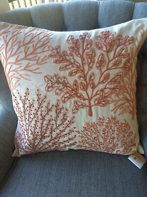 Pottery Barn Layered Coral Pillow Cover Red 24 Embroidered Coastal Decor NEW $69 ()
