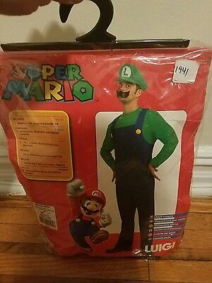super mario bros Luigi halloween costume size small with white gloves for $100