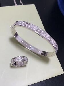 18K SOLID GOLD FULL DIAMONDS RING- Cartier LOVE STYLE