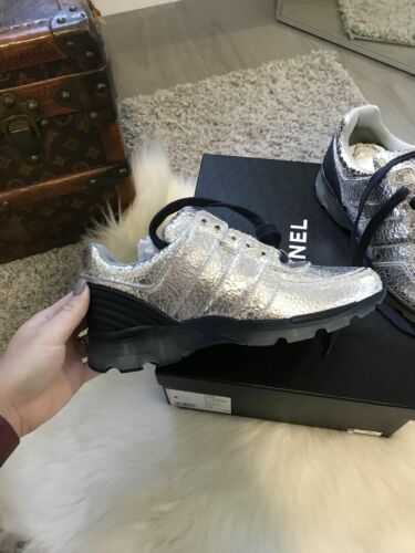 Womens Chanel Silver sneakers tennis shoes size 39 Never Worn