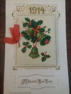 1914 Winsch Postcard  Embossed with full 12-Month New Year Calendar