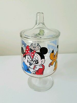 Vintage Walt Disneyworld Glass Footed Candy Jar Lid Apothecary Mickey Mouse Park