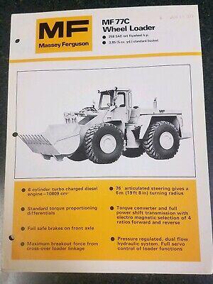 1977 Massey Ferguson Mf 77c Wheel Loader Dealer Product Specs