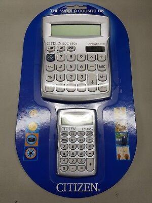 2 Citizen Calculator Set Desktop tax and Small pocket size Brand new