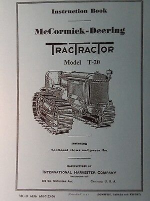 T-20 International Tractractor Crawler Tractor Owner Service 2 Manual 122pg