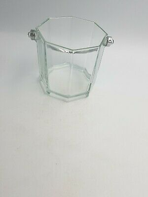 OCTIME LUMINARC FRANCE GLASS ICE BUCKET STAINLESS SILVER PLATED HANDLE OCTAGONAL Silver Plated Ice Bucket