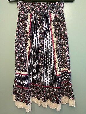 Vintage Jessica's Gunnies Gunne Sax FESTIVAL SKIRT Prairie Boho Floral Sz S