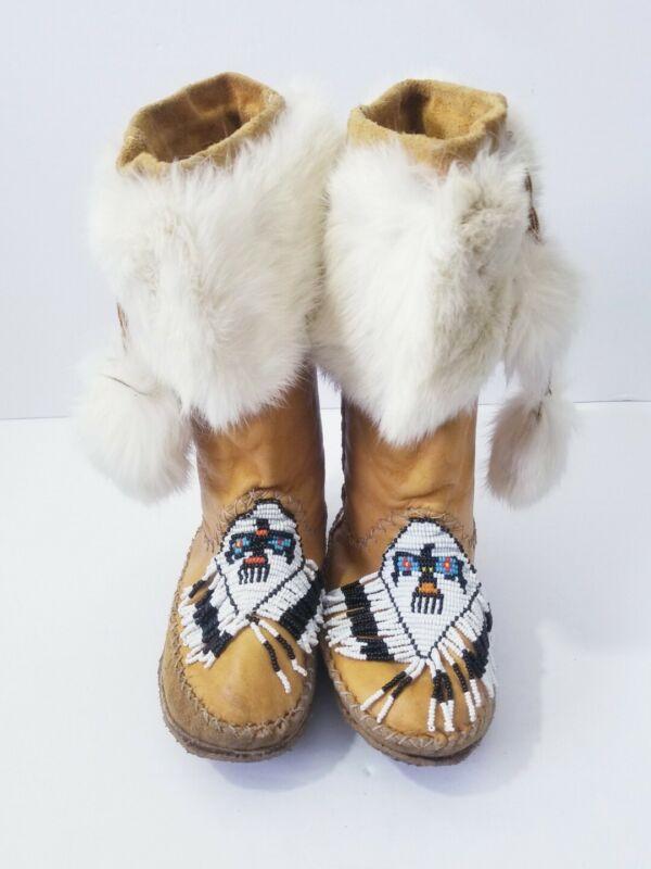 Vintage Cree Beaded Thunderbird Fur Trim Plains Indian Moccasins Mukluks 1970s