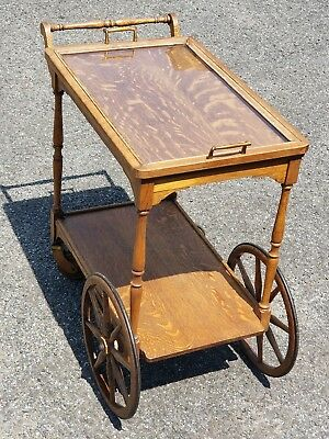 Vintage TIGER OAK Bar Cart Beverage, Dessert Tea Trolley Glass Tray Furniture - Glass Oak Kitchen Cart