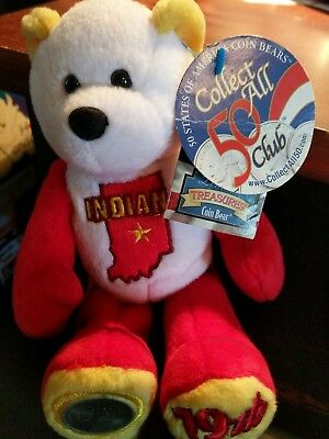 limited edition Indiana treasure state coin collectible red & white beanie bear