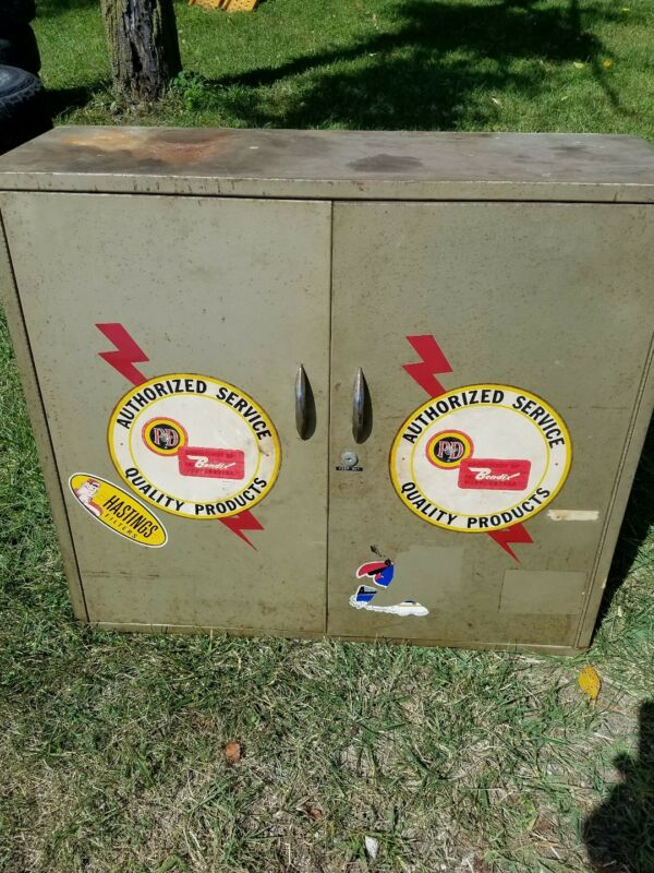 Vintage P&D Bendix Advertising Shop Garage Industrial Metal Parts Tool Cabinet