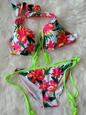 LADIES TROPICAL FLORAL BIKINI SET, WHITE WITH TIE NECK STRAPS by Boutique ()