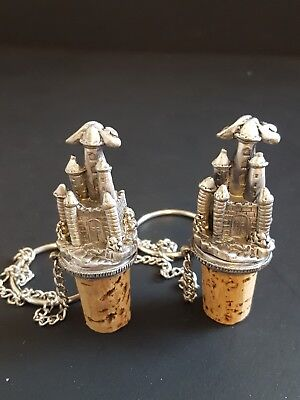 Pewter Castle Wine Bottle Stopper's w/ Corks  (Set of 2)  Unused! Pewter Wine Bottle Stopper Cork