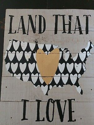 Wall Art Painted Wooden Sign Home Decor Land That I Love Usa Stands On Own