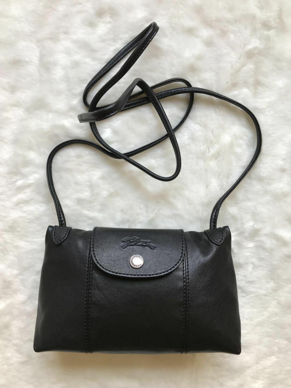 Longchamp Le Pliage Cuir Leather Crossbody Bag Black Authentic