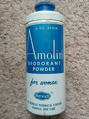 VINTAGE AMOLIN DEODORANT POWDER FOR WOMEN METAL TIN NORWICH PHARMACAL CO -Empty