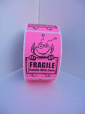 Fragile Handle With Care Cute Pink Alien Holding Sign 2x3 Sticker Label 250rl