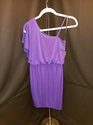 Nwt  Valerie Bertinelli  6  Dark Purple One Shoulder Stretch Knit Dress