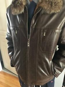 Winter Men Jacket With Fur And Real Leather
