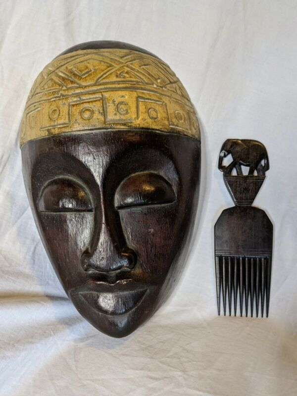 Timorese Warrior Mask Carved Wood Indonesia With Elephant Pick