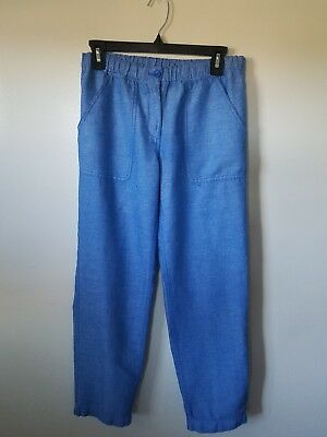 Girls Elastic Waist Pants - J. Crew Girls Summer Pants Blue  Linen&Cotton Blend Elastic Waist Size 4