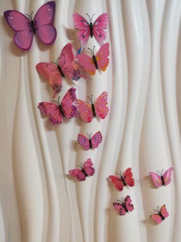 3D Butterfly Sticker Home Decoration Art Wall 12 Pieces Pink