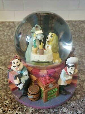 """Vintage Disney Lady and The Tramp - Musical Snow Globe - Plays """"Bella Notte"""""""