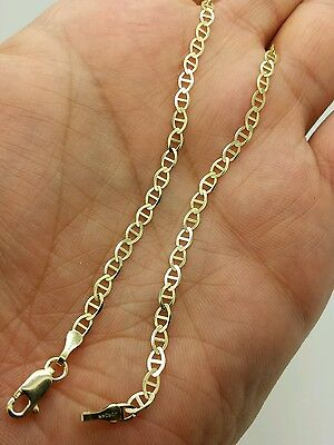 "10k Solid Yellow Gold High Polish Mariner Anchor Anklet 10"" 3.2mm"