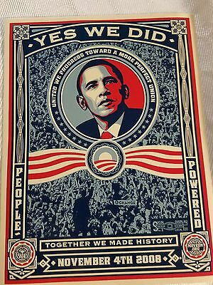 """Shepard Fairey Barack Obama Poster. """"Yes we did"""" November 4th 2008 24in x 36in"""