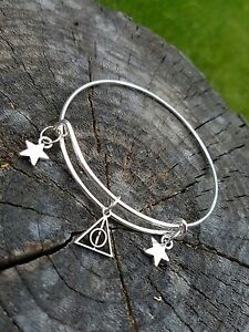 Handmade Harry Potter Deathly Hallows Bangle Bracelet with Stars Metal Silver