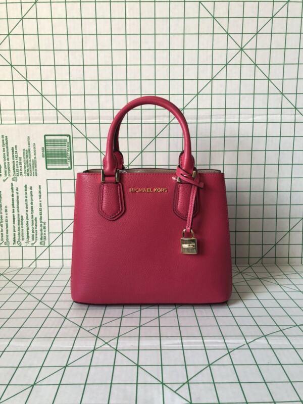 8677dfb5aaab NWT Michael Kors Adele Medium Pebbled Leather Satchel Messenger Bag Ruben  Red