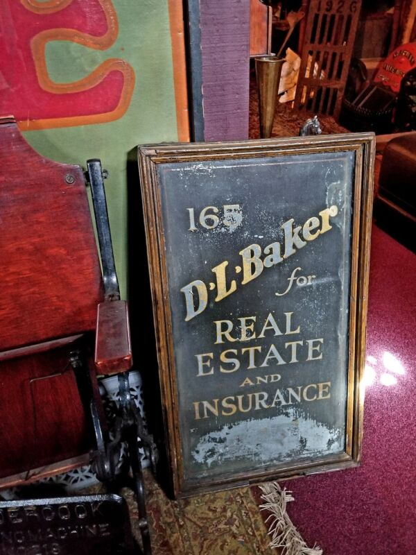 1910s Hartford Ct D. L. Baker Edwardian Insurance Gold Leaf Street Billboard