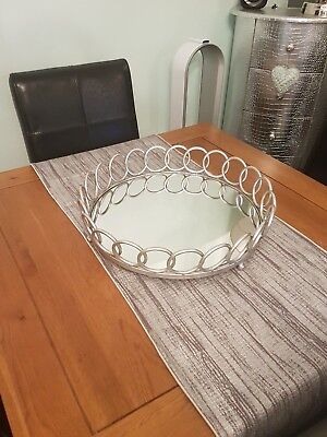 Statement Center Piece Silver Mirrored Metal Tray RRP 70.00