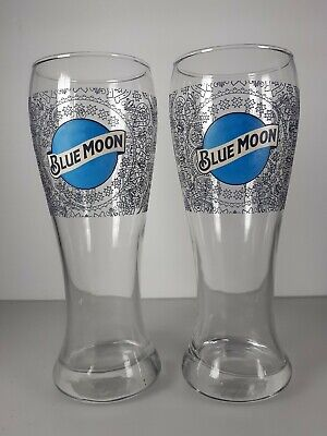 Blue Moon 16 Oz Pilsner Beer Glass Set Of 2 Bar Pint Glasses Free Shipping! Beer Pint Glass Set