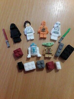 edible sugarpaste cake/cupcake toppers. Star Wars figures and Bricks