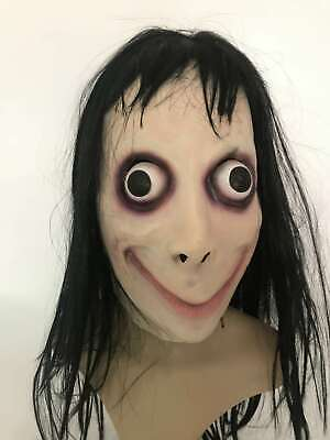 Momo Scary Games Latex Mask With Long Hair Adult Halloween Costume Party Props - Games Halloween Scary