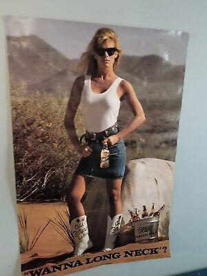 (VTG) miller mgd Beer Poster sign sexy girl cold filtered is hot cowboy boots