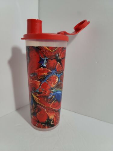 New TUPPERWARE Tumbler Cup w/ Flip-Top Seal 16 oz. FREE US SHIPPING  Red