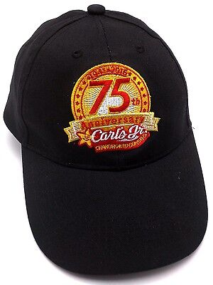 CARL'S JUNIOR HAMBURGERS 75th ANNIVERSARY black adjustable cap / hat