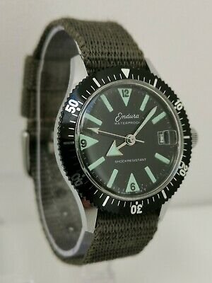 Vtg 1960s Endura Swiss Divers Gents Date Wrist Watch Cal EB8810 NATO Style Strap