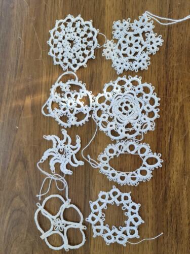 Set of 8 Vintage Crochet White Snowflake Christmas Ornaments