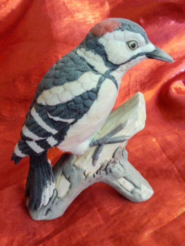 Woodpecker Bird Black and Red Bisque Porcelain Kato Kogei Figurine Japan