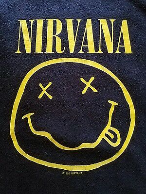 NIRVANA 1992 SMILEY FACE XLARGE PRE-OWNED flower sniffing whores KURT COBAIN