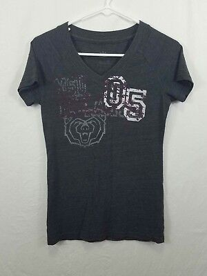 Adidas Womens Size Small Graphic Tee T-Shirt Gray Short Sleeve V-Neck Pullover
