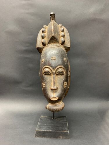 AFRICAN ART BAULE MASK WITH STAND
