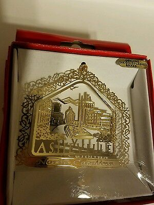 Asheville  North Carolina  24k gold finish Brass Ornament
