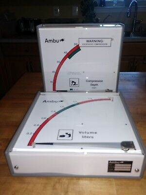 Ambu Compression Depth Volume Liters Cpr Testing Gauge Vent Meter Teaching Set