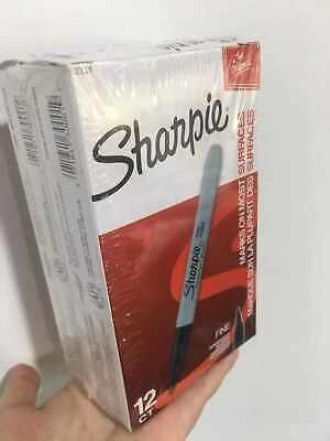 Sharpie Permanent Black Marker Fine Point Tip Markers Marks Ink Pens 24 Packs