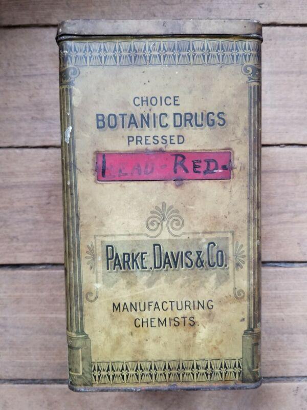 Vintage Parke, Davis & Co. Choice Botanic Drugs Tin, Nice Condition!