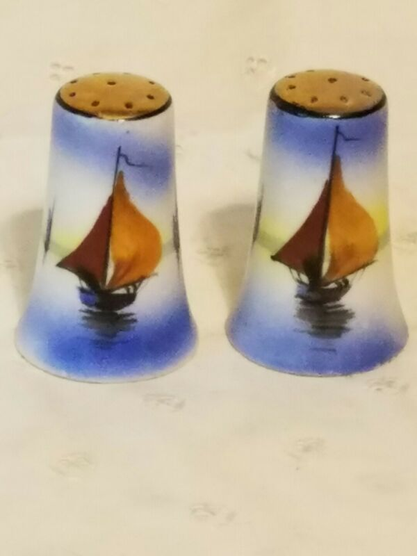 Hand Painted Antique Vintage Sailboat Design Salt and Pepper Shaker Set